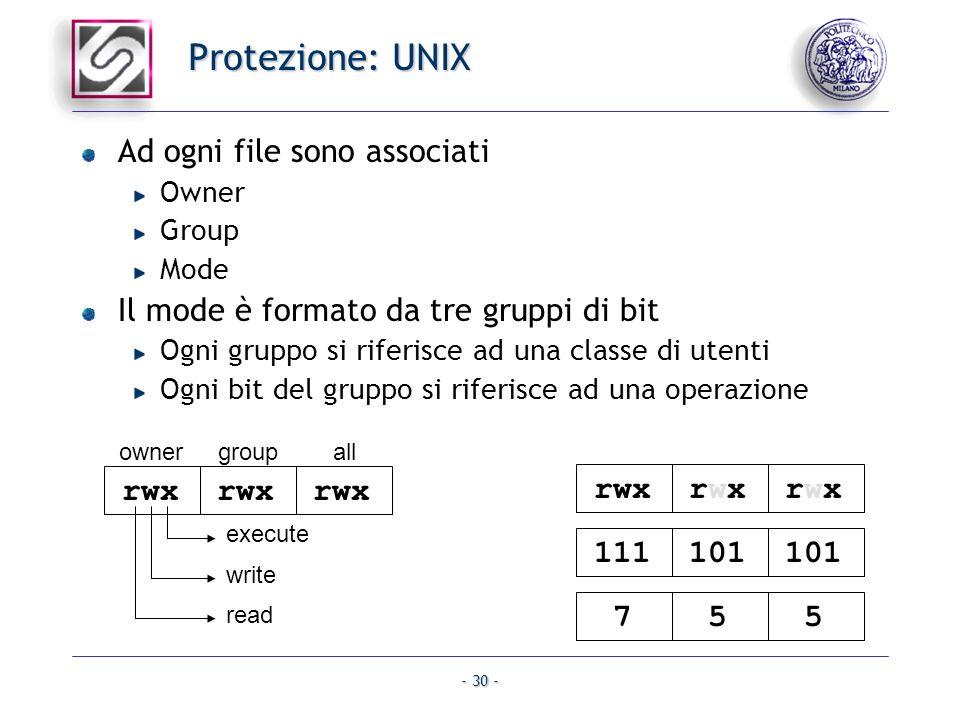 - 30 - Protezione: UNIX Ad ogni file sono associati Owner Group Mode Il mode è formato da tre gruppi di bit Ogni gruppo si riferisce ad una classe di
