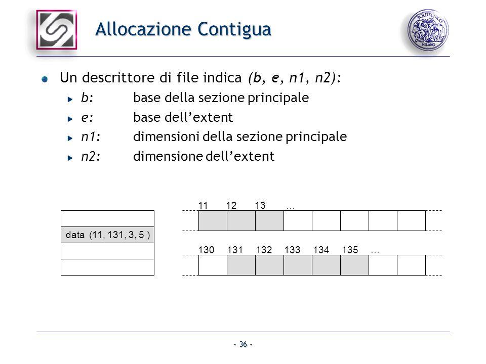 - 36 - Allocazione Contigua Un descrittore di file indica (b, e, n1, n2): b:base della sezione principale e: base dellextent n1: dimensioni della sezi