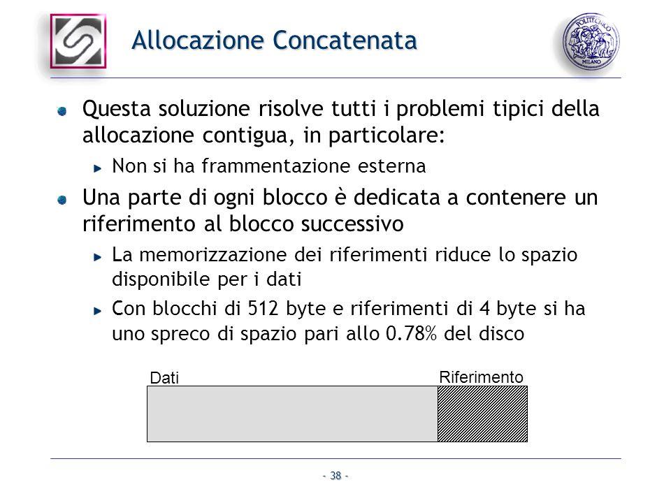 - 38 - Allocazione Concatenata Questa soluzione risolve tutti i problemi tipici della allocazione contigua, in particolare: Non si ha frammentazione e
