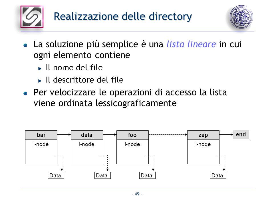 - 49 - Realizzazione delle directory La soluzione più semplice è una lista lineare in cui ogni elemento contiene Il nome del file Il descrittore del f