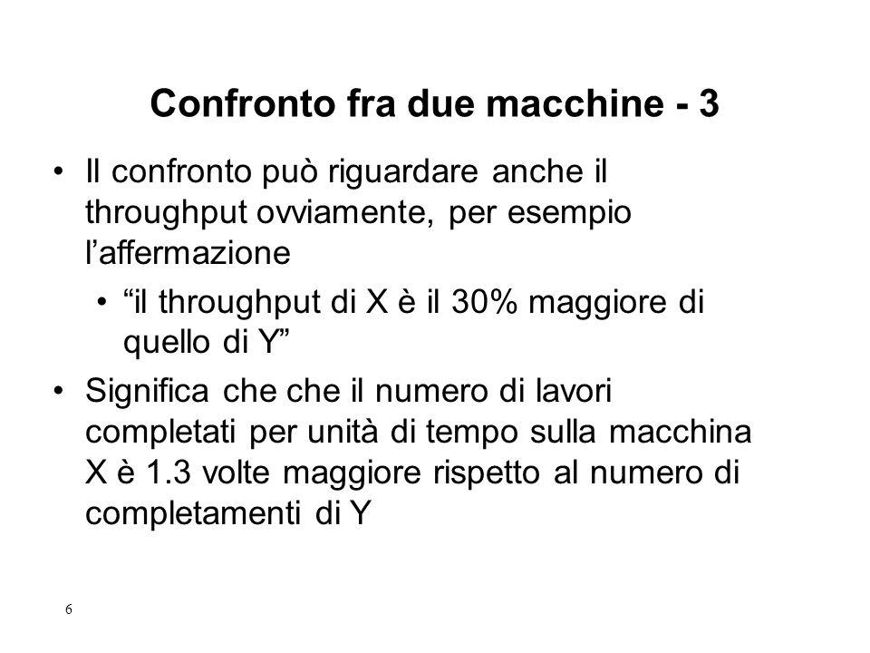 6 Il confronto può riguardare anche il throughput ovviamente, per esempio laffermazione il throughput di X è il 30% maggiore di quello di Y Significa che che il numero di lavori completati per unità di tempo sulla macchina X è 1.3 volte maggiore rispetto al numero di completamenti di Y Confronto fra due macchine - 3