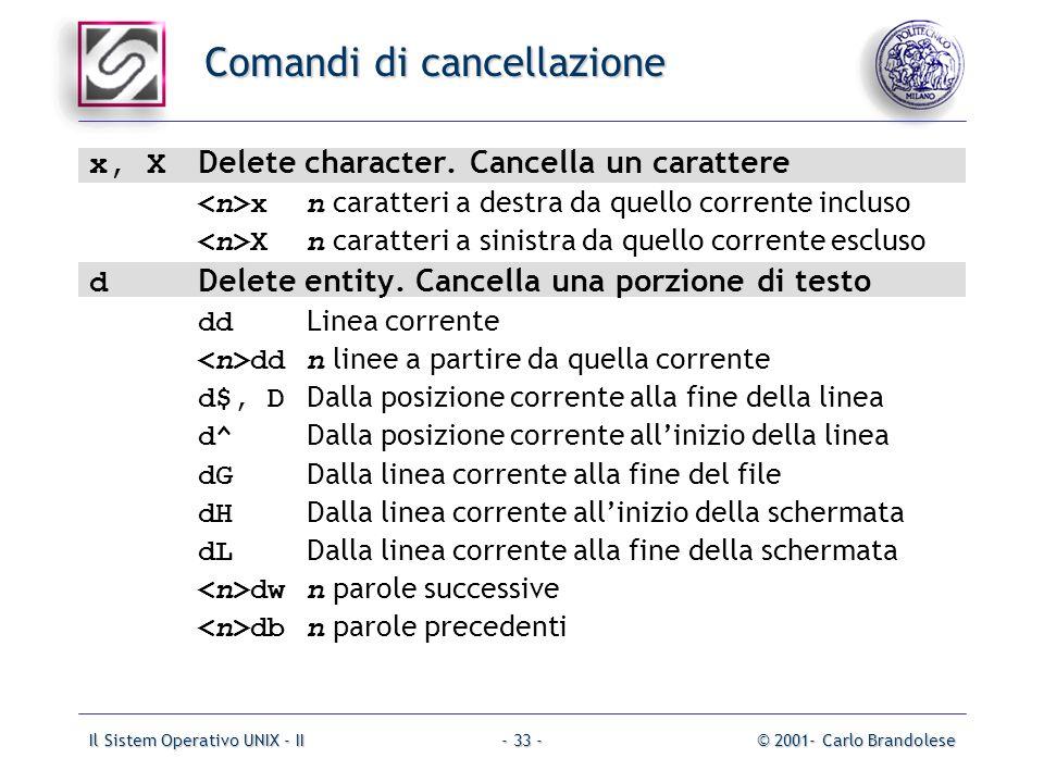 Il Sistem Operativo UNIX - II© 2001- Carlo Brandolese- 33 - Comandi di cancellazione x, X Delete character.