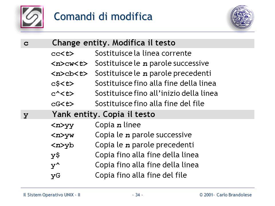 Il Sistem Operativo UNIX - II© 2001- Carlo Brandolese- 34 - Comandi di modifica c Change entity.