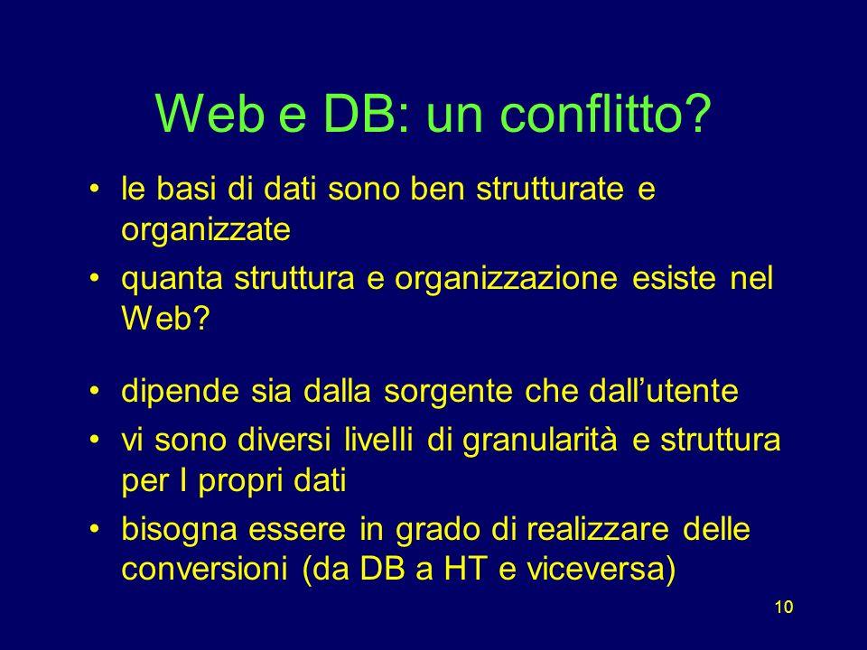 10 Web e DB: un conflitto.
