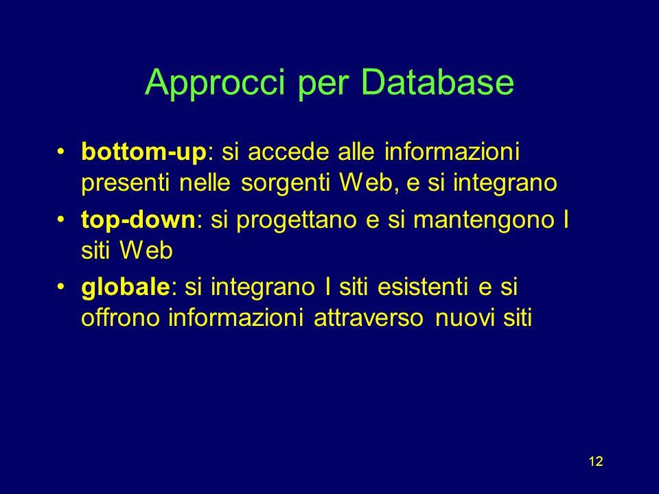 12 Approcci per Database bottom-up: si accede alle informazioni presenti nelle sorgenti Web, e si integrano top-down: si progettano e si mantengono I siti Web globale: si integrano I siti esistenti e si offrono informazioni attraverso nuovi siti