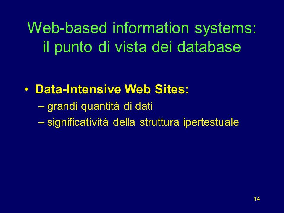 14 Web-based information systems: il punto di vista dei database Data-Intensive Web Sites: –grandi quantità di dati –significatività della struttura i