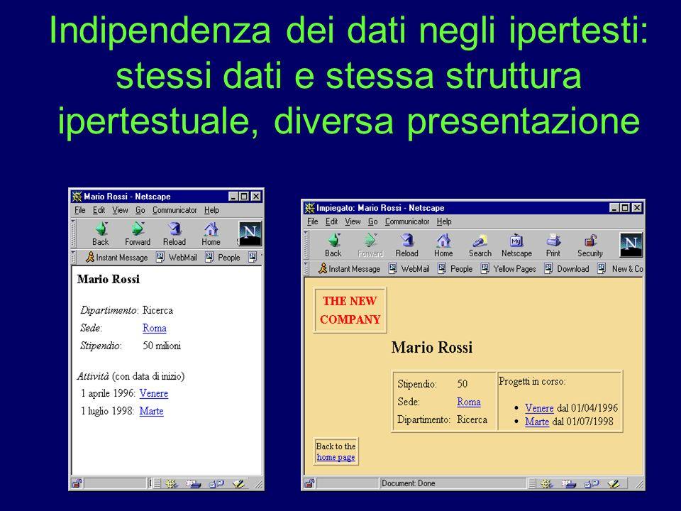 19 Indipendenza dei dati negli ipertesti: stessi dati e stessa struttura ipertestuale, diversa presentazione
