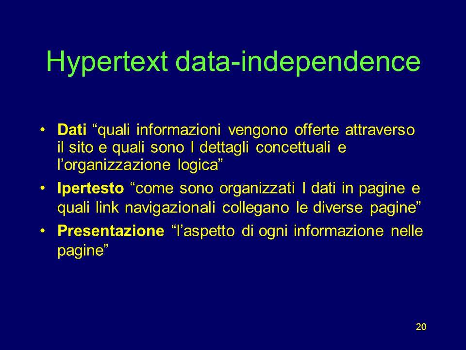 20 Hypertext data-independence Dati quali informazioni vengono offerte attraverso il sito e quali sono I dettagli concettuali e lorganizzazione logica Ipertesto come sono organizzati I dati in pagine e quali link navigazionali collegano le diverse pagine Presentazione laspetto di ogni informazione nelle pagine