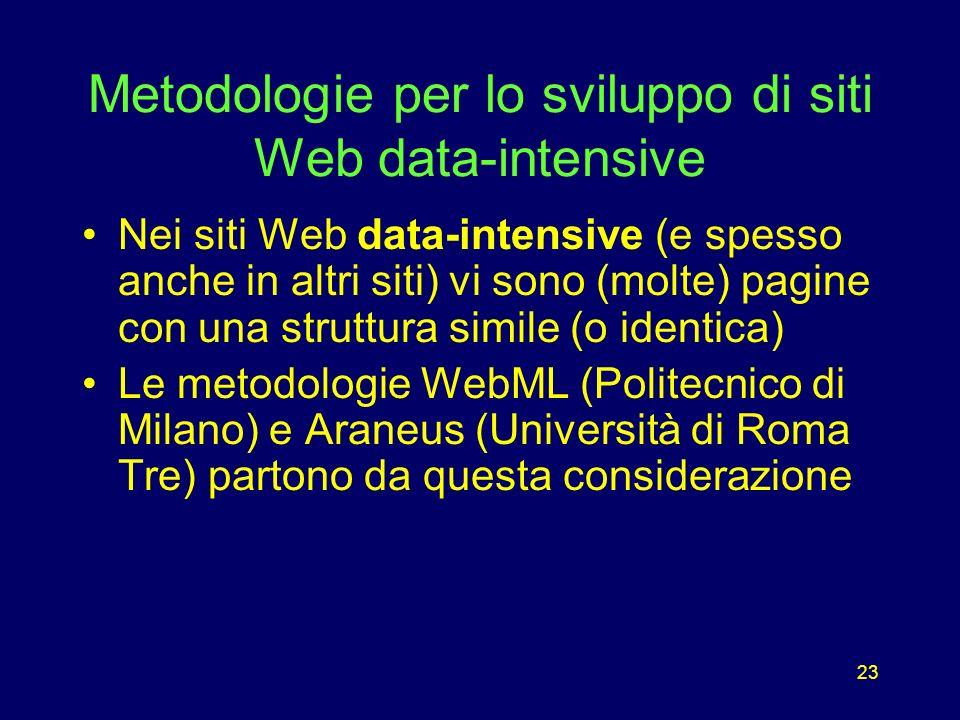 23 Metodologie per lo sviluppo di siti Web data-intensive Nei siti Web data-intensive (e spesso anche in altri siti) vi sono (molte) pagine con una struttura simile (o identica) Le metodologie WebML (Politecnico di Milano) e Araneus (Università di Roma Tre) partono da questa considerazione