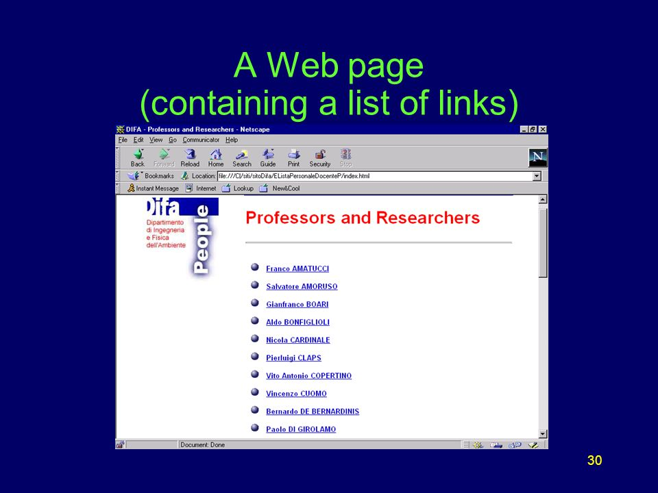 30 A Web page (containing a list of links)