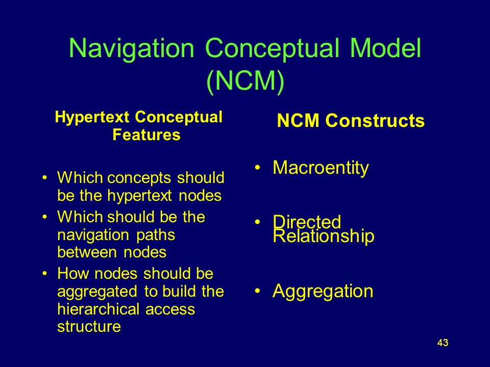 43 Navigation Conceptual Model (NCM) Hypertext Conceptual Features Which concepts should be the hypertext nodes Which should be the navigation paths between nodes How nodes should be aggregated to build the hierarchical access structure NCM Constructs Macroentity Directed Relationship Aggregation