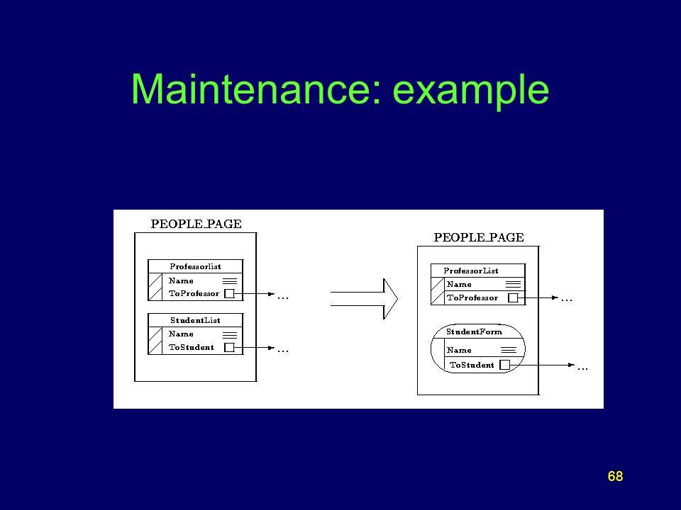 68 Maintenance: example