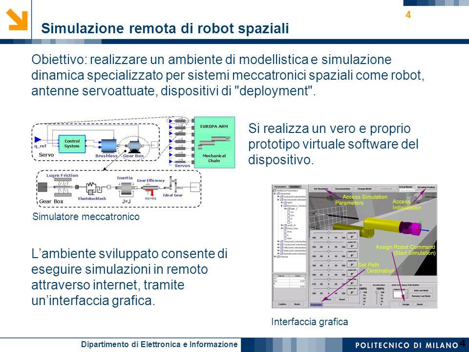 Dipartimento di Elettronica e Informazione 4 Obiettivo: realizzare un ambiente di modellistica e simulazione dinamica specializzato per sistemi meccat