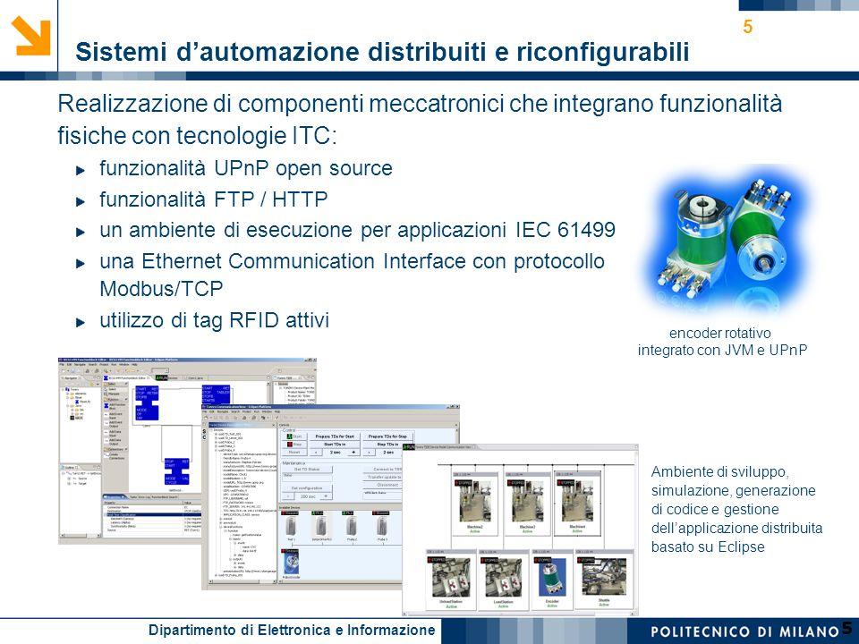 Dipartimento di Elettronica e Informazione 5 5 Realizzazione di componenti meccatronici che integrano funzionalità fisiche con tecnologie ITC: funzion