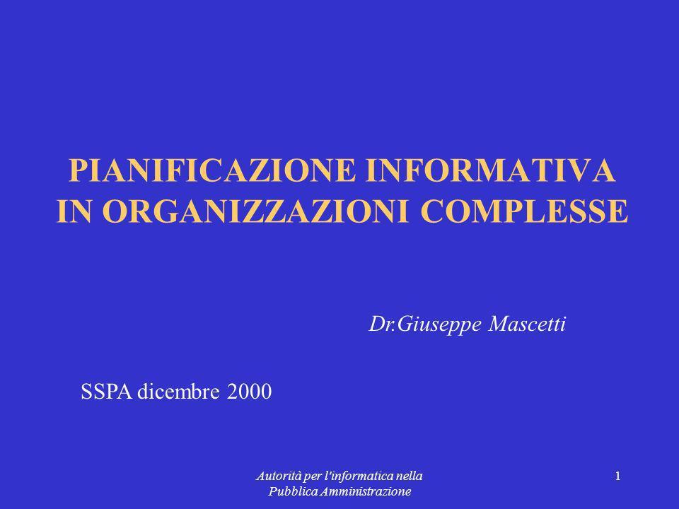 Autorità per l informatica nella Pubblica Amministrazione 1 PIANIFICAZIONE INFORMATIVA IN ORGANIZZAZIONI COMPLESSE Dr.Giuseppe Mascetti SSPA dicembre 2000