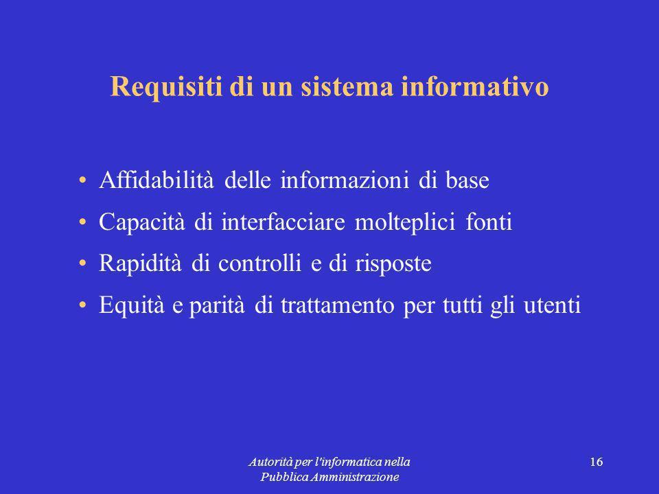 Autorità per l informatica nella Pubblica Amministrazione 16 Requisiti di un sistema informativo Affidabilità delle informazioni di base Capacità di interfacciare molteplici fonti Rapidità di controlli e di risposte Equità e parità di trattamento per tutti gli utenti