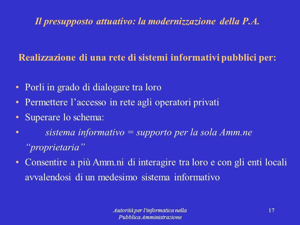 Autorità per l informatica nella Pubblica Amministrazione 17 Il presupposto attuativo: la modernizzazione della P.A.