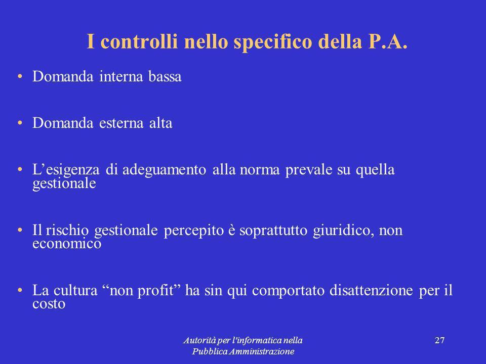 Autorità per l informatica nella Pubblica Amministrazione 27 I controlli nello specifico della P.A.