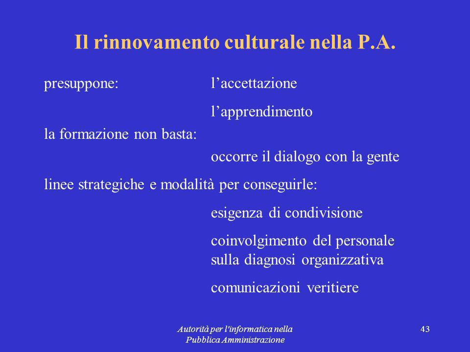 Autorità per l informatica nella Pubblica Amministrazione 43 Il rinnovamento culturale nella P.A.