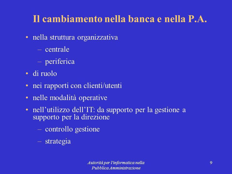 Autorità per l informatica nella Pubblica Amministrazione 9 Il cambiamento nella banca e nella P.A.