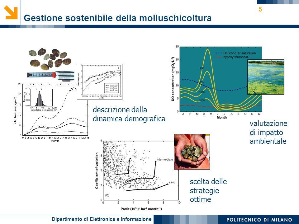 Dipartimento di Elettronica e Informazione 5 descrizione della dinamica demografica valutazione di impatto ambientale scelta delle strategie ottime Gestione sostenibile della molluschicoltura