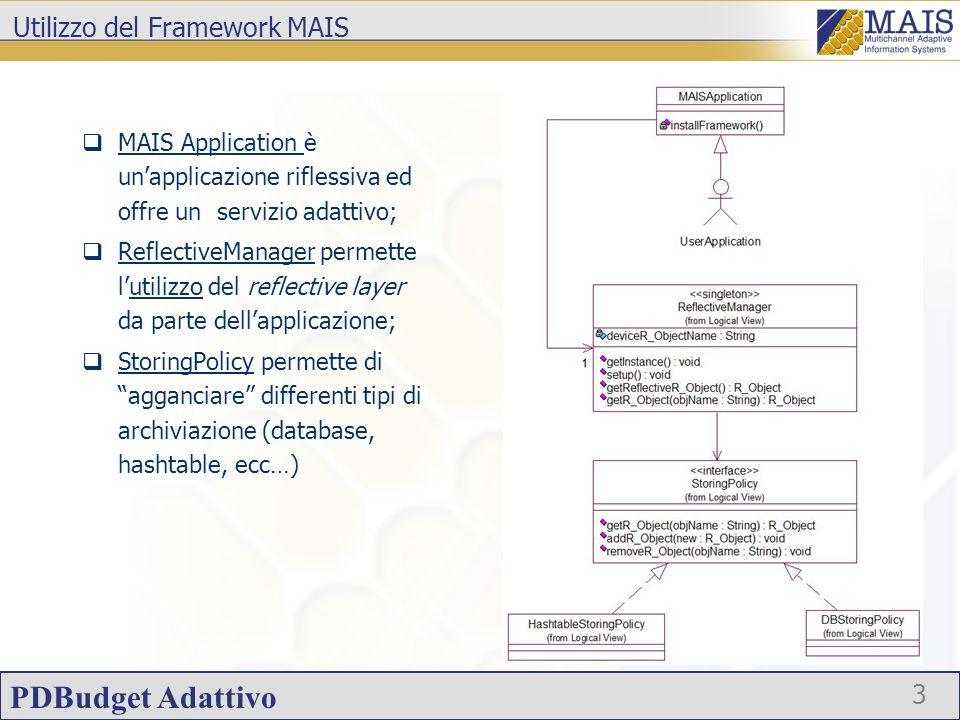 PDBudget Adattivo 3 Utilizzo del Framework MAIS MAIS Application è unapplicazione riflessiva ed offre un servizio adattivo; ReflectiveManager permette