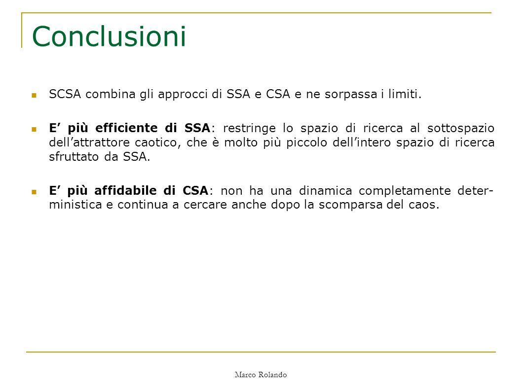 Marco Rolando Conclusioni SCSA combina gli approcci di SSA e CSA e ne sorpassa i limiti.