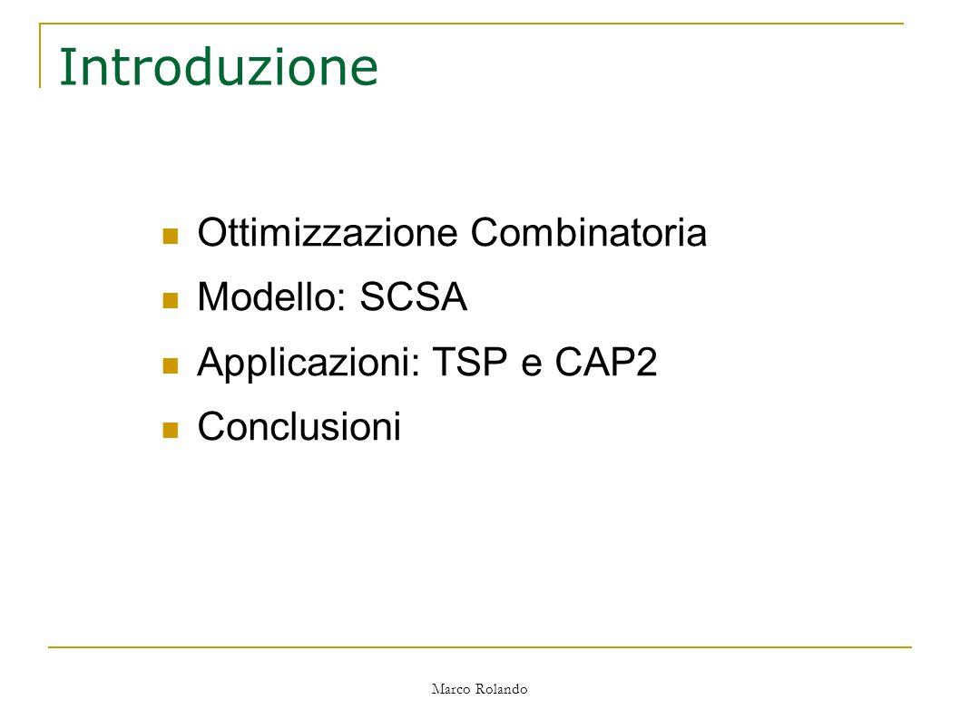 Marco Rolando Introduzione Ottimizzazione Combinatoria Modello: SCSA Applicazioni: TSP e CAP2 Conclusioni