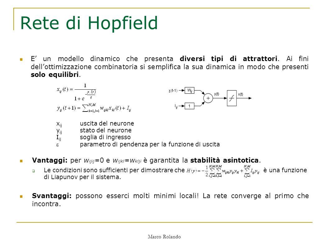 Marco Rolando Rete di Hopfield Vantaggi: per w ijij =0 e w ijkl =w klji è garantita la stabilità asintotica.