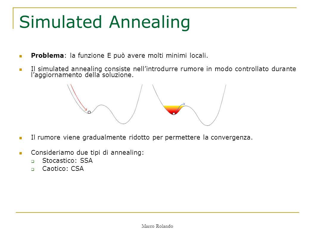 Marco Rolando Simulated Annealing Problema: la funzione E può avere molti minimi locali.