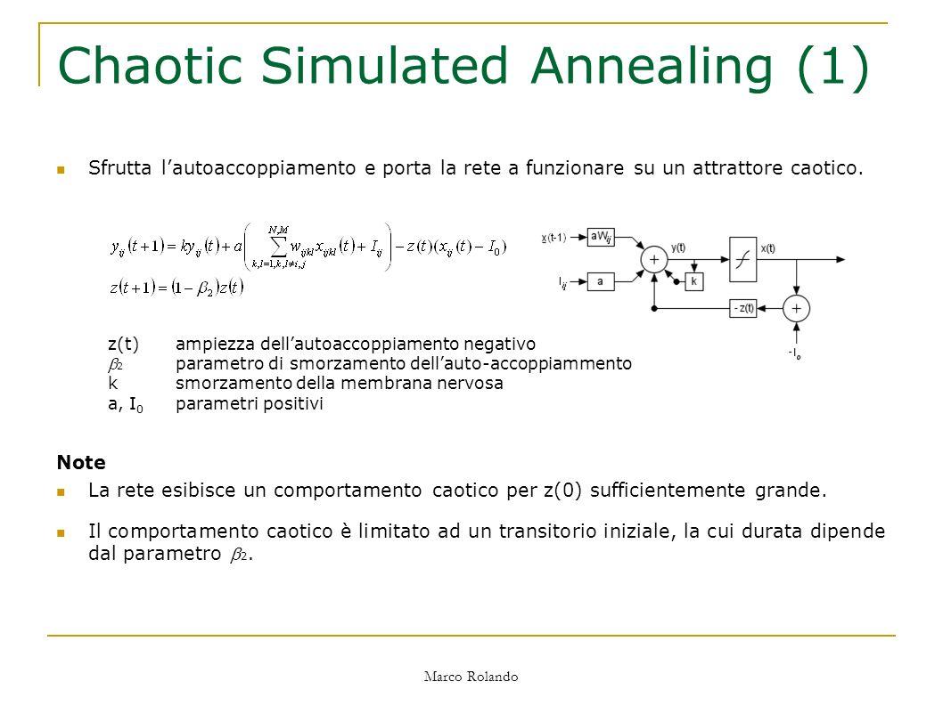 Marco Rolando Chaotic Simulated Annealing (1) Sfrutta lautoaccoppiamento e porta la rete a funzionare su un attrattore caotico.