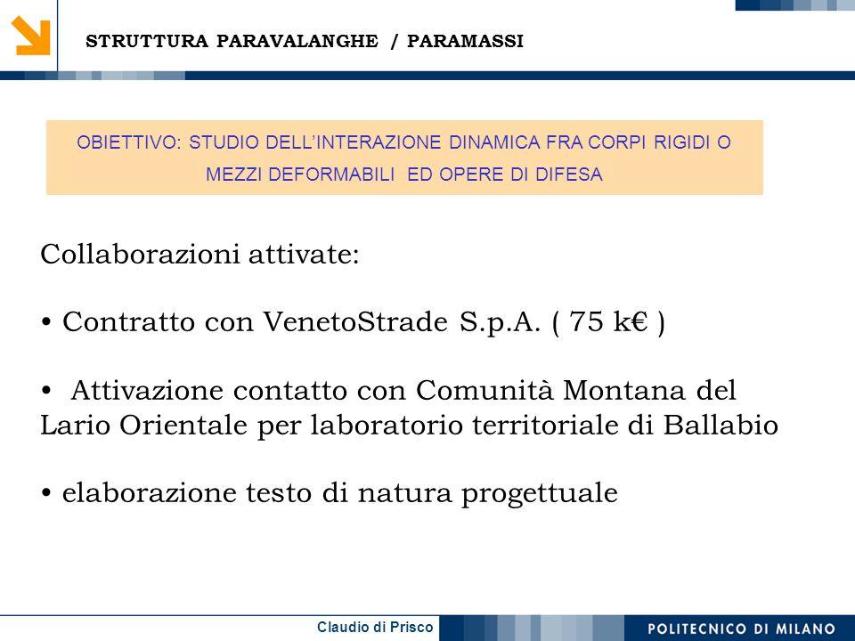 Claudio di Prisco Collaborazioni attivate: Contratto con VenetoStrade S.p.A. ( 75 k ) Attivazione contatto con Comunità Montana del Lario Orientale pe