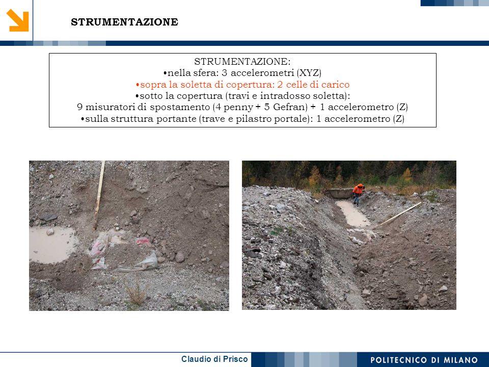Claudio di Prisco STRUMENTAZIONE STRUMENTAZIONE: nella sfera: 3 accelerometri (XYZ) sopra la soletta di copertura: 2 celle di carico sotto la copertura (travi e intradosso soletta): 10 misuratori di spostamento (4 penny + 5 Gefran) + 1 accelerometro (Z) sulla struttura portante (trave e pilastro portale): 1 accelerometro (Z)