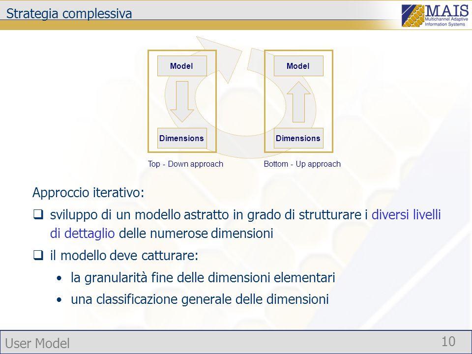 User Model 10 Strategia complessiva Approccio iterativo: sviluppo di un modello astratto in grado di strutturare i diversi livelli di dettaglio delle numerose dimensioni il modello deve catturare: la granularità fine delle dimensioni elementari una classificazione generale delle dimensioni Model Dimensions Top - Down approach Bottom - Up approach Model Dimensions