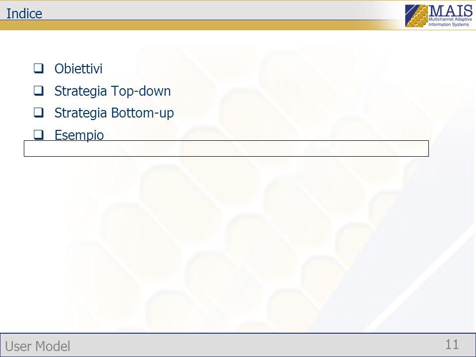User Model 11 Indice Obiettivi Strategia Top-down Strategia Bottom-up Esempio