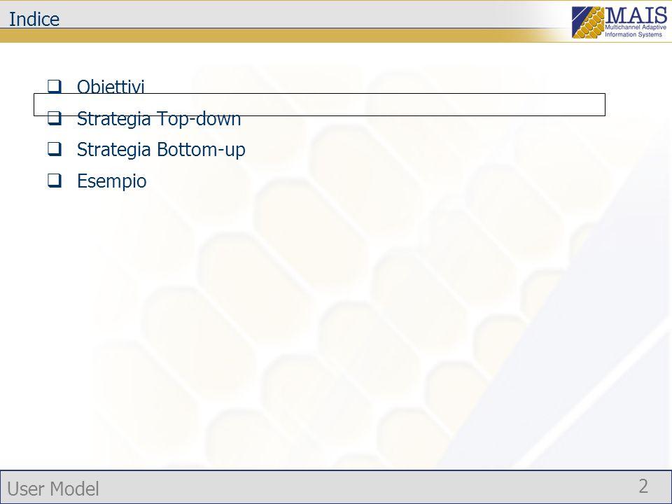 User Model 2 Indice Obiettivi Strategia Top-down Strategia Bottom-up Esempio