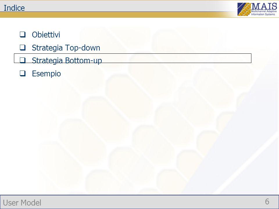 User Model 7 Strategia Top-down pura Modello Dimensioni Il modello sviluppato con lapproccio top-down puro è potenzialmente abbastanza generale da includere le differenti dimensioni attraverso cui il profilo utente in MAIS è stato espresso.