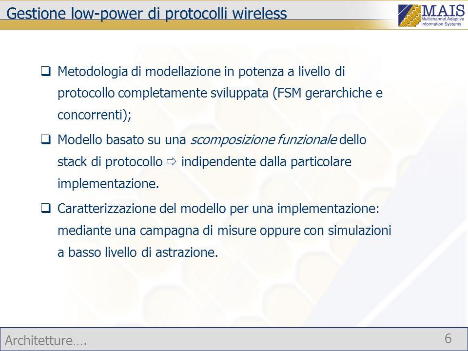 Architetture….7 Gestione low-power di protocolli wireless Primo protocollo modellato: Bluetooth.