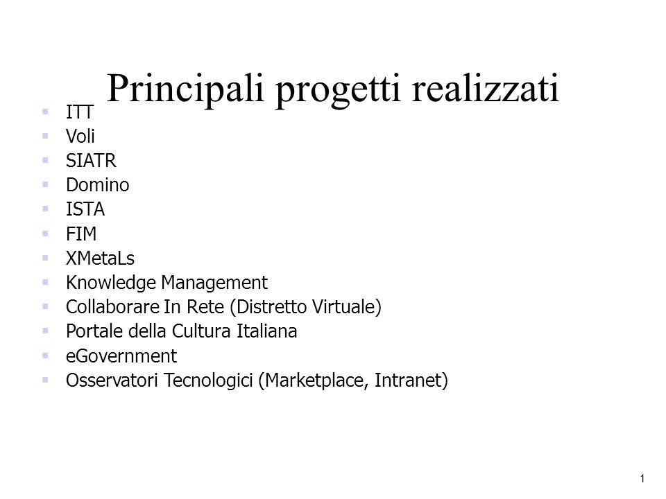 Principali progetti realizzati 1 ITT Voli SIATR Domino ISTA FIM XMetaLs Knowledge Management Collaborare In Rete (Distretto Virtuale) Portale della Cu