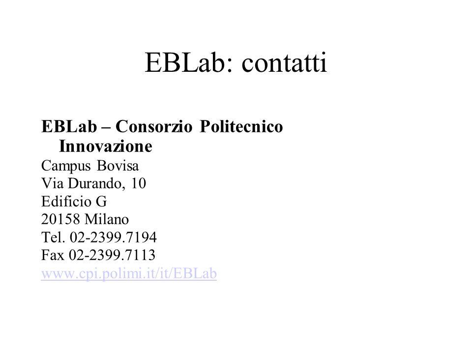 EBLab: contatti EBLab – Consorzio Politecnico Innovazione Campus Bovisa Via Durando, 10 Edificio G 20158 Milano Tel. 02-2399.7194 Fax 02-2399.7113 www