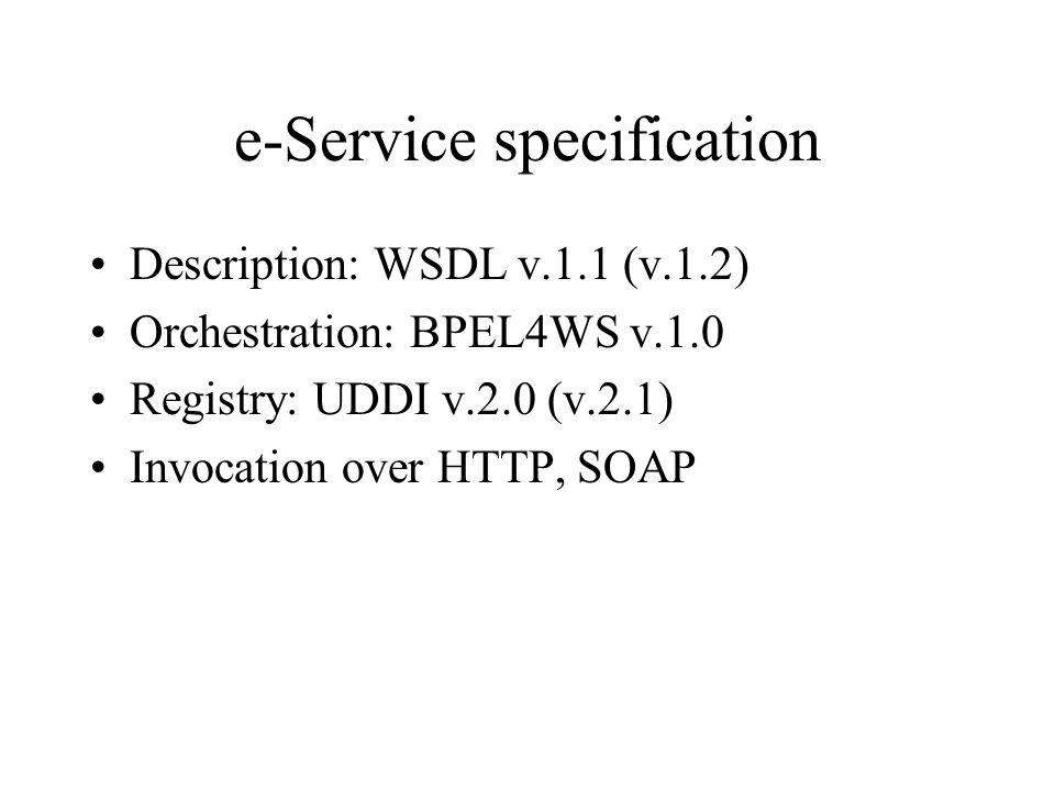e-service support platform (at PoliMi and Roma 1) Application Server: IBM WebSphere v.4.01 Messaging Server: IBM MQSeries Database: IBM DB2 v.7.2 e-Service Registry: UDDI Registry v.