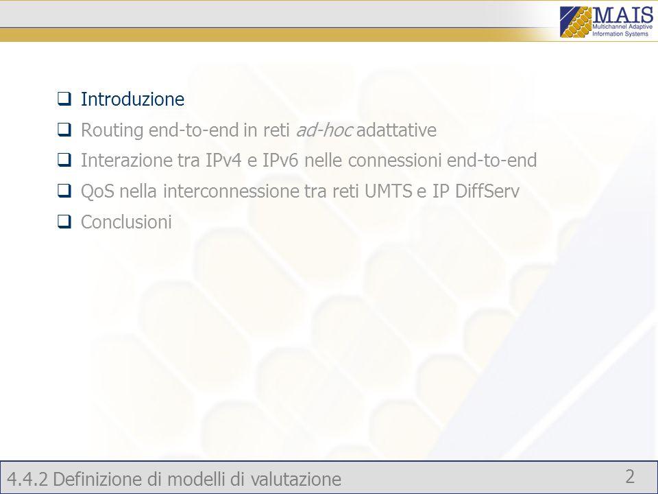 4.4.2 Definizione di modelli di valutazione 2 Introduzione Routing end-to-end in reti ad-hoc adattative Interazione tra IPv4 e IPv6 nelle connessioni end-to-end QoS nella interconnessione tra reti UMTS e IP DiffServ Conclusioni