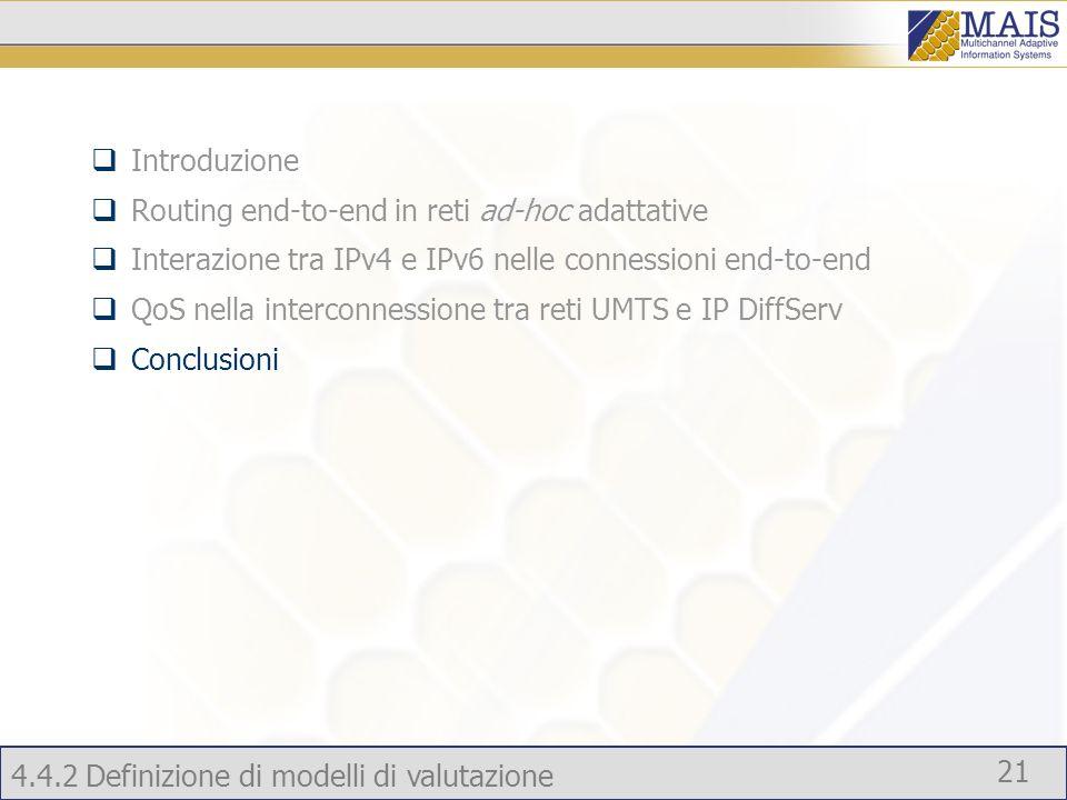 4.4.2 Definizione di modelli di valutazione 21 Introduzione Routing end-to-end in reti ad-hoc adattative Interazione tra IPv4 e IPv6 nelle connessioni end-to-end QoS nella interconnessione tra reti UMTS e IP DiffServ Conclusioni