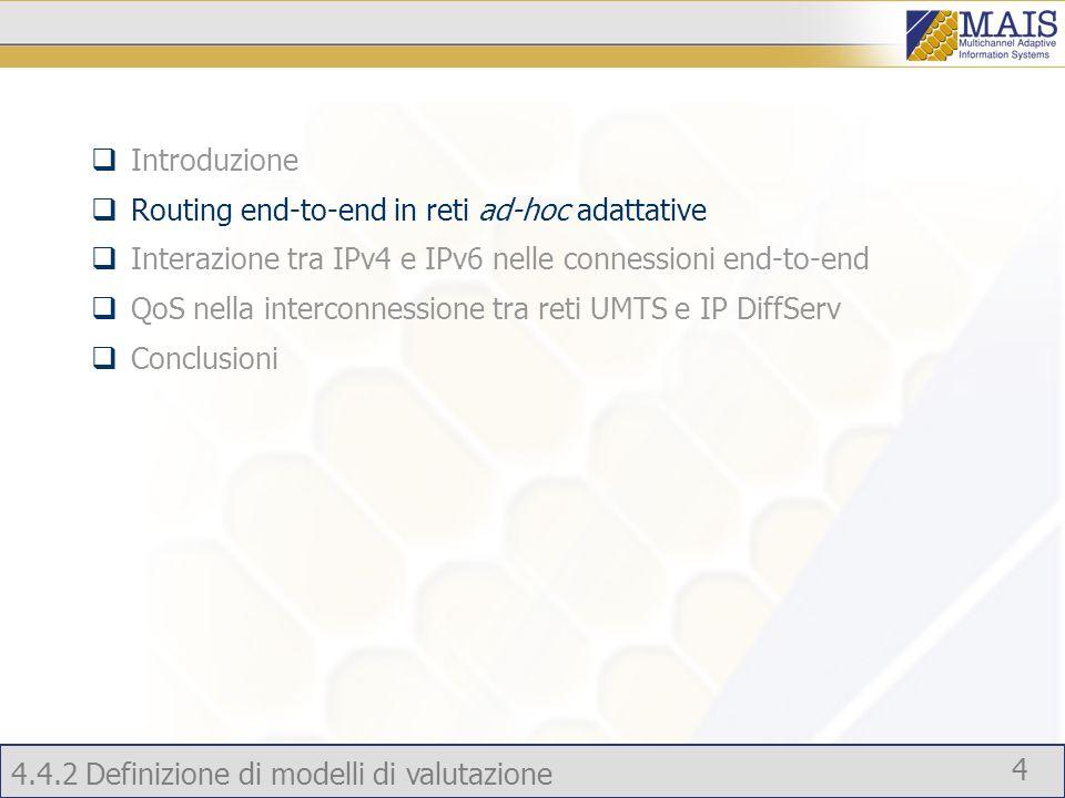 4.4.2 Definizione di modelli di valutazione 4 Introduzione Routing end-to-end in reti ad-hoc adattative Interazione tra IPv4 e IPv6 nelle connessioni end-to-end QoS nella interconnessione tra reti UMTS e IP DiffServ Conclusioni
