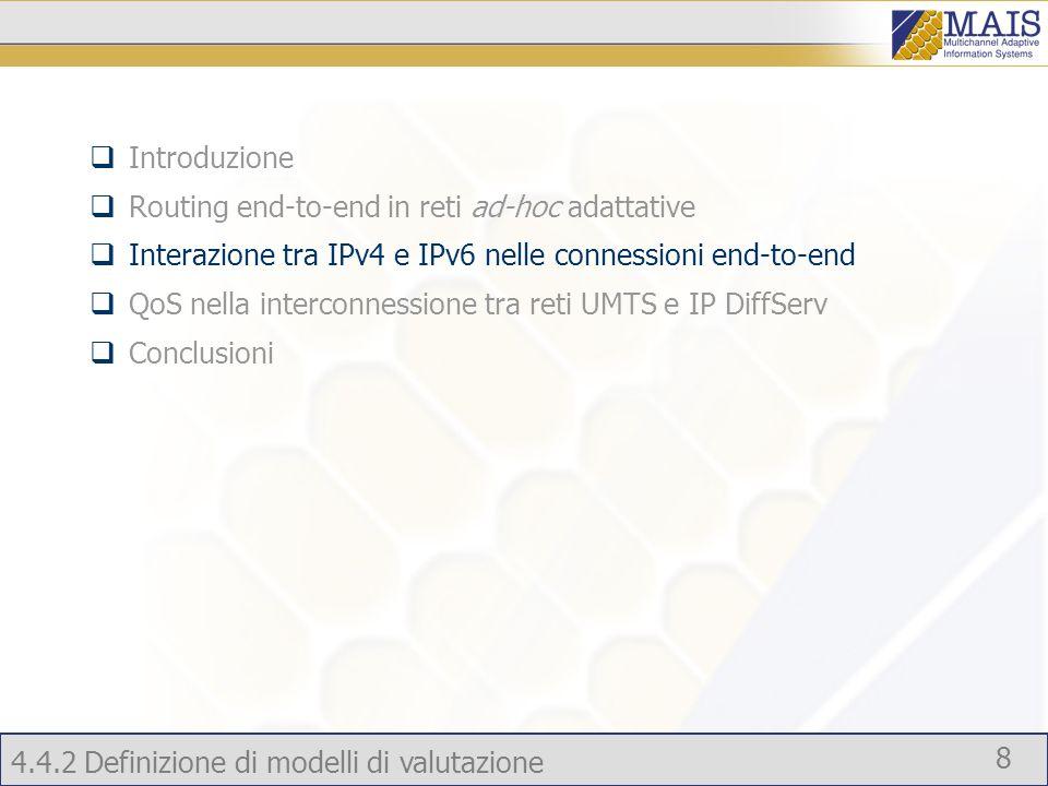 4.4.2 Definizione di modelli di valutazione 8 Introduzione Routing end-to-end in reti ad-hoc adattative Interazione tra IPv4 e IPv6 nelle connessioni end-to-end QoS nella interconnessione tra reti UMTS e IP DiffServ Conclusioni