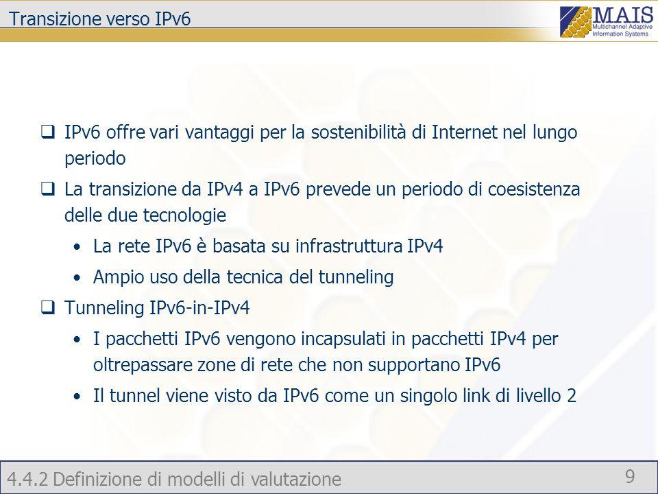 4.4.2 Definizione di modelli di valutazione 9 Transizione verso IPv6 IPv6 offre vari vantaggi per la sostenibilità di Internet nel lungo periodo La transizione da IPv4 a IPv6 prevede un periodo di coesistenza delle due tecnologie La rete IPv6 è basata su infrastruttura IPv4 Ampio uso della tecnica del tunneling Tunneling IPv6-in-IPv4 I pacchetti IPv6 vengono incapsulati in pacchetti IPv4 per oltrepassare zone di rete che non supportano IPv6 Il tunnel viene visto da IPv6 come un singolo link di livello 2