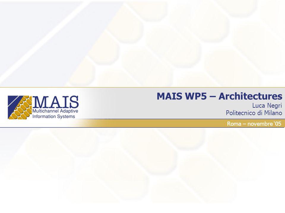 MAIS WP5 – Architectures Luca Negri Politecnico di Milano Roma – novembre 05