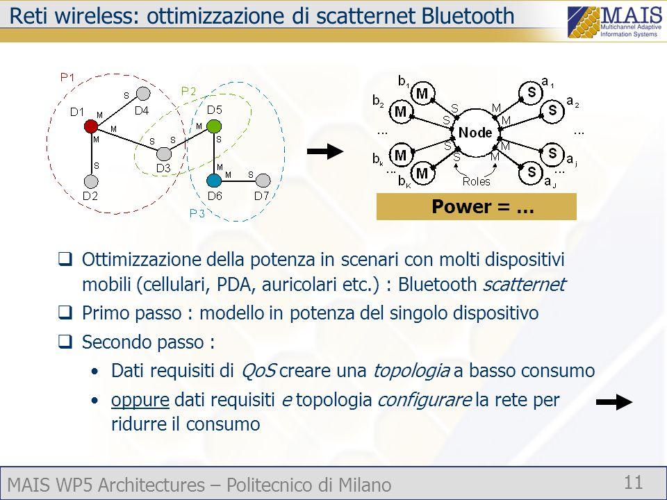 MAIS WP5 Architectures – Politecnico di Milano 11 Reti wireless: ottimizzazione di scatternet Bluetooth Ottimizzazione della potenza in scenari con molti dispositivi mobili (cellulari, PDA, auricolari etc.) : Bluetooth scatternet Primo passo : modello in potenza del singolo dispositivo Secondo passo : Dati requisiti di QoS creare una topologia a basso consumo oppure dati requisiti e topologia configurare la rete per ridurre il consumo Power = …