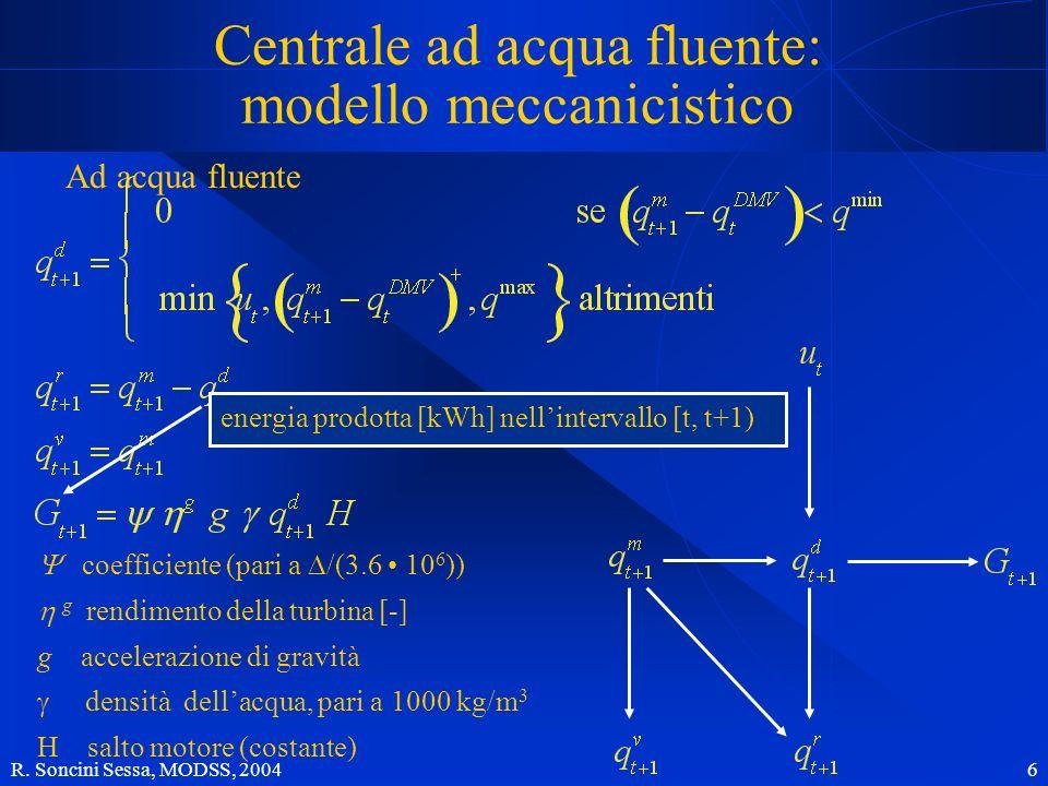 R. Soncini Sessa, MODSS, 2004 7 Limpianto idroelettrico Con serbatoio
