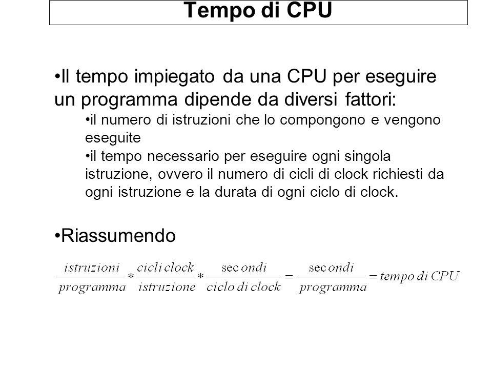 Tempo di CPU Il tempo impiegato da una CPU per eseguire un programma dipende da diversi fattori: il numero di istruzioni che lo compongono e vengono e